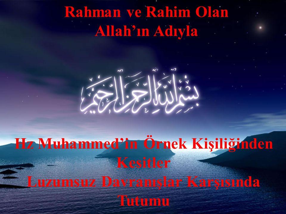 Rahman ve Rahim Olan Allah'ın Adıyla Hz Muhammed'in Örnek Kişiliğinden Kesitler Luzumsuz Davranışlar Karşısında Tutumu
