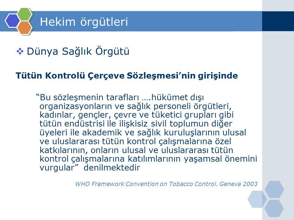 www.themegallery.com Hekim örgütleri  Türk Tabipleri Birliği Hekimlerin Toplumsal Sorumlulukları Bildirgesi'nde Bireylerin ve toplumların sağlık düzeyi, sadece sunulan sağlık hizmetleri ile değil, toplumsal sınıf, eğitim, genetik, beslenme, barınma, çalışma ve çevre koşulları gibi pek çok etken tarafından belirlenmektedir.