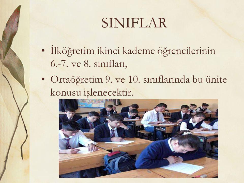 SINIFLAR İlköğretim ikinci kademe öğrencilerinin 6.-7. ve 8. sınıfları, Ortaöğretim 9. ve 10. sınıflarında bu ünite konusu işlenecektir.