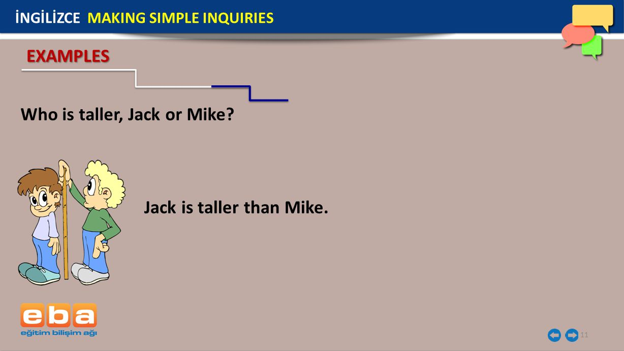 11 Who is taller, Jack or Mike.İNGİLİZCE MAKING SIMPLE INQUIRIES Jack is taller than Mike.