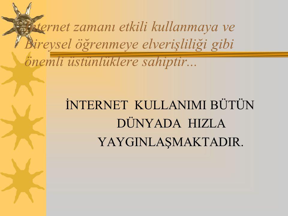 İnternet zamanı etkili kullanmaya ve Bireysel öğrenmeye elverişliliği gibi önemli üstünlüklere sahiptir...