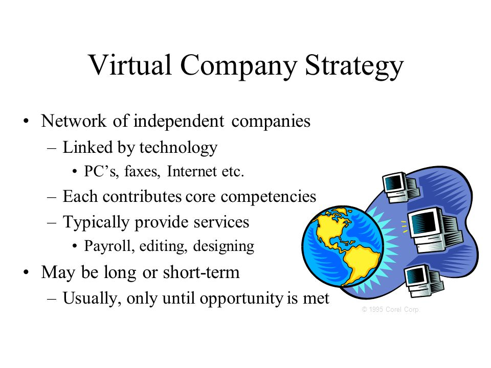 © 1995 Corel Corp. Virtual Company Strategy Network of independent companies –Linked by technology PC's, faxes, Internet etc. –Each contributes core c