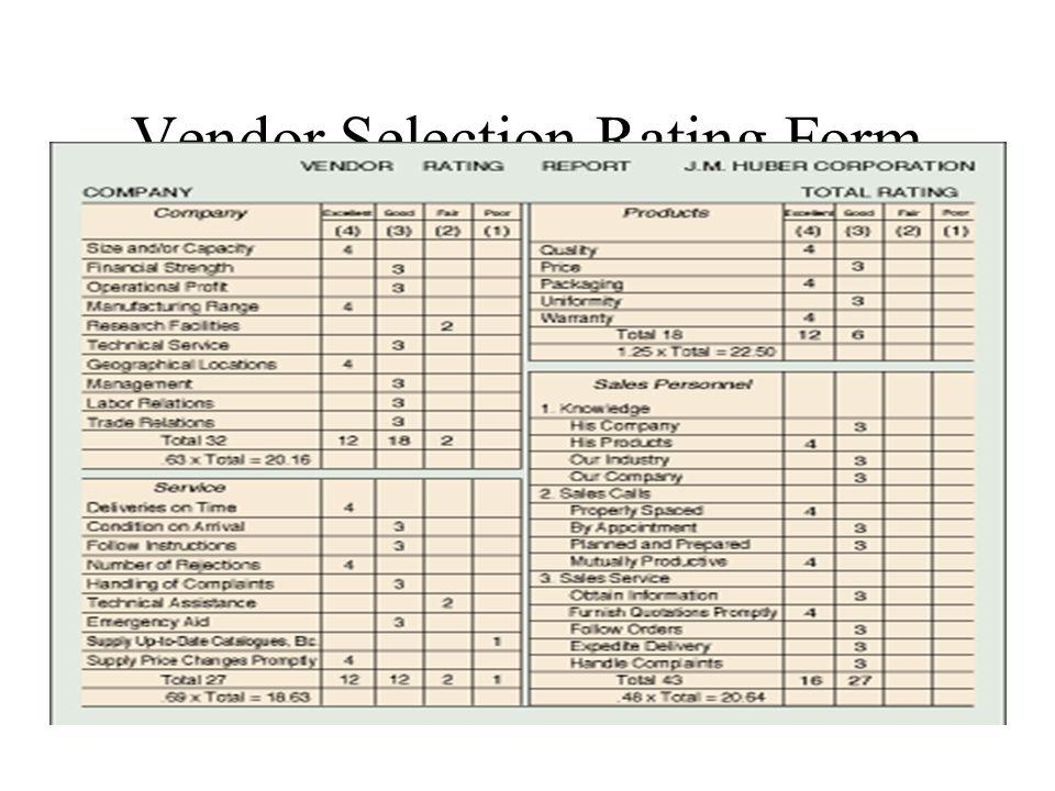 Vendor Selection Rating Form