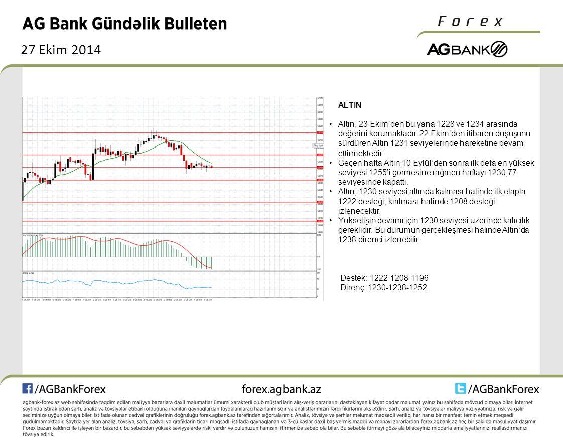 27 Ekim 2014 ALTIN Altın, 23 Ekim'den bu yana 1228 ve 1234 arasında değerini korumaktadır.