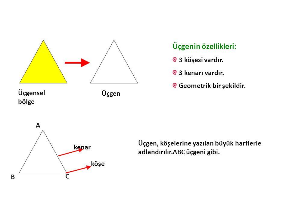 Üçgensel bölge Üçgen Üçgenin özellikleri: 3 köşesi vardır. 3 kenarı vardır. Geometrik bir şekildir. A B C köşe kenar Üçgen, köşelerine yazılan büyük h