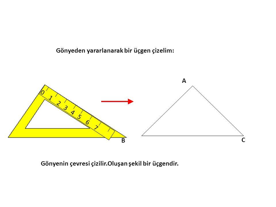 Gönyeden yararlanarak bir üçgen çizelim: 0 1 2 3 4 5 6 7 A B C Gönyenin çevresi çizilir.Oluşan şekil bir üçgendir.