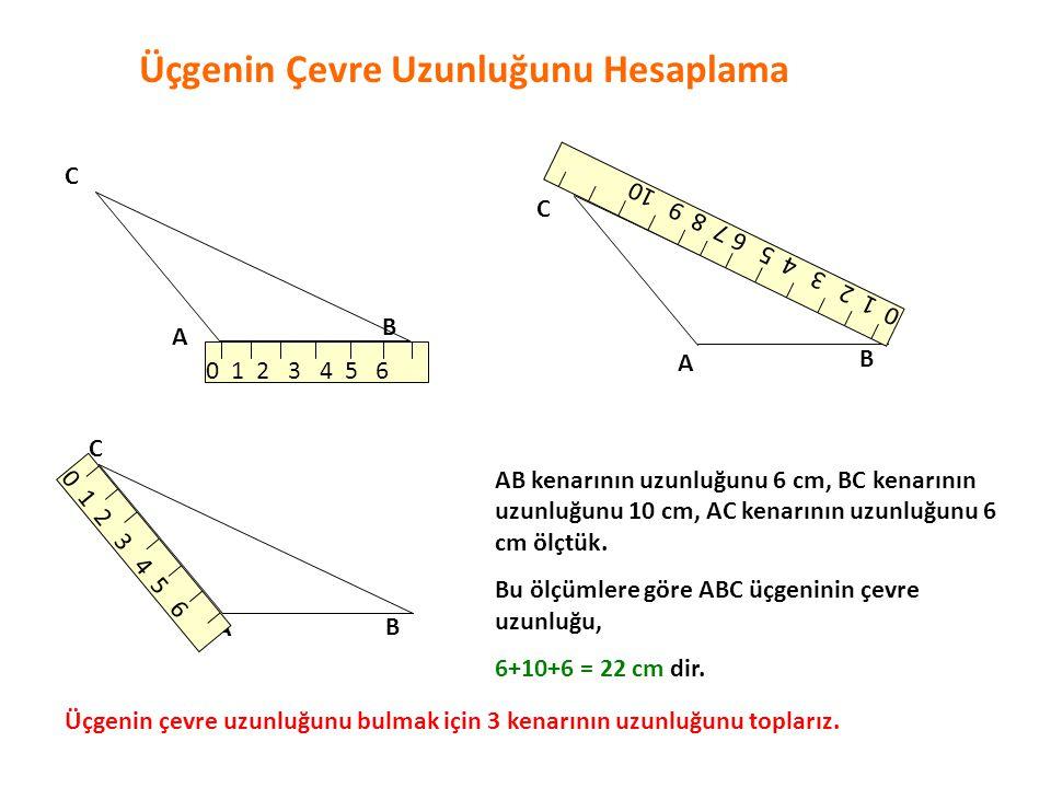 ÖRNEK: Kenar uzunlukları 6 cm,12 cm,15 cm olan ABC üçgeninin çevre uzunluğunu bulalım: A B C 6 cm 12 cm 15 cm ABC üçgeninin çevre uzunluğu : 6+12+15=33 cm dir.