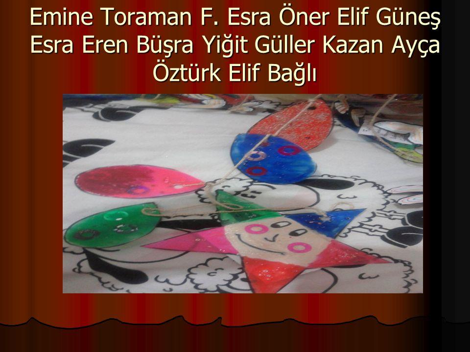 Emine Toraman F. Esra Öner Elif Güneş Esra Eren Büşra Yiğit Güller Kazan Ayça Öztürk Elif Bağlı