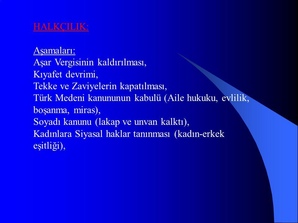 HALKÇILIK: Aşamaları: Aşar Vergisinin kaldırılması, Kıyafet devrimi, Tekke ve Zaviyelerin kapatılması, Türk Medeni kanununun kabulü (Aile hukuku, evlilik, boşanma, miras), Soyadı kanunu (lakap ve unvan kalktı), Kadınlara Siyasal haklar tanınması (kadın-erkek eşitliği),