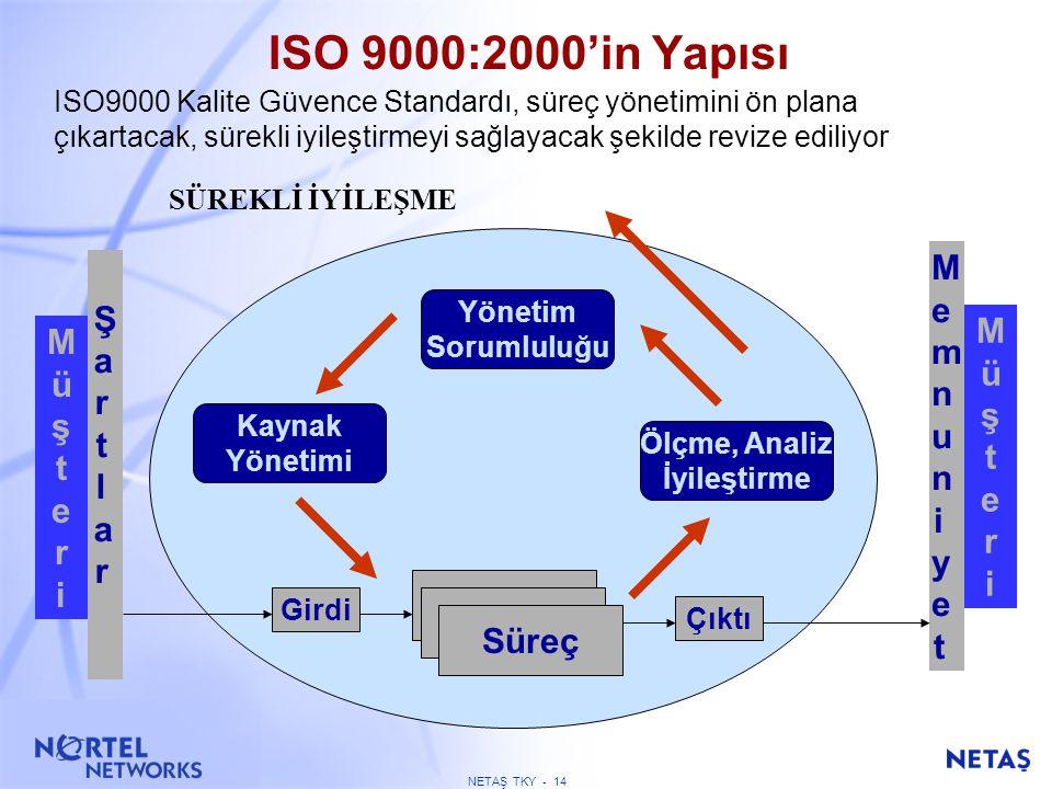NETAŞ TKY - 13 FELSEFENİN DEĞİŞİMİ ISO 9001 (1994) standardı müşterilere sunulan ürün ve hizmetlerin kalitesini doğrudan etkileyen faaliyetleri kapsar