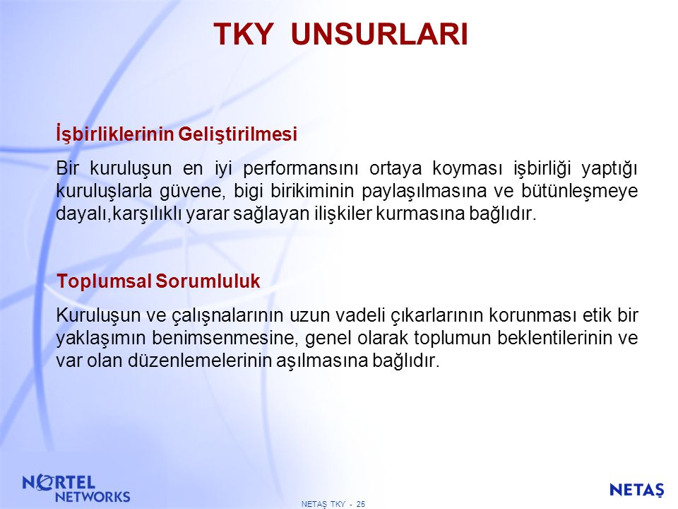 NETAŞ TKY - 24 TKY UNSURLARI Süreçler ve Verilerle Yönetim Kuruluşlar en iyi performanslarını birbiri ile ilişkili tüm faaliyetler anlaşıldığı, sistem