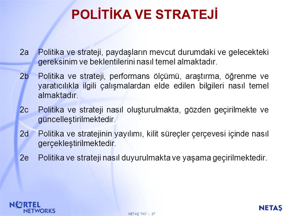 NETAŞ TKY - 36 POLİTİKA VE STRATEJİ Kuruluş misyon ve vizyonunu, net bir biçimde paydaşlara odaklanmış bir strateji ve bunu destekleyen uygun politika