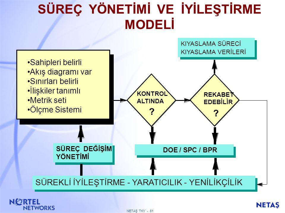 NETAŞ TKY - 60 SÜREÇLER Tedarik Zinciri İş Alanı Yönetimi Pazarlama Satiş Müşteri Hizmetleri Müşteri …. ….. Odaklı