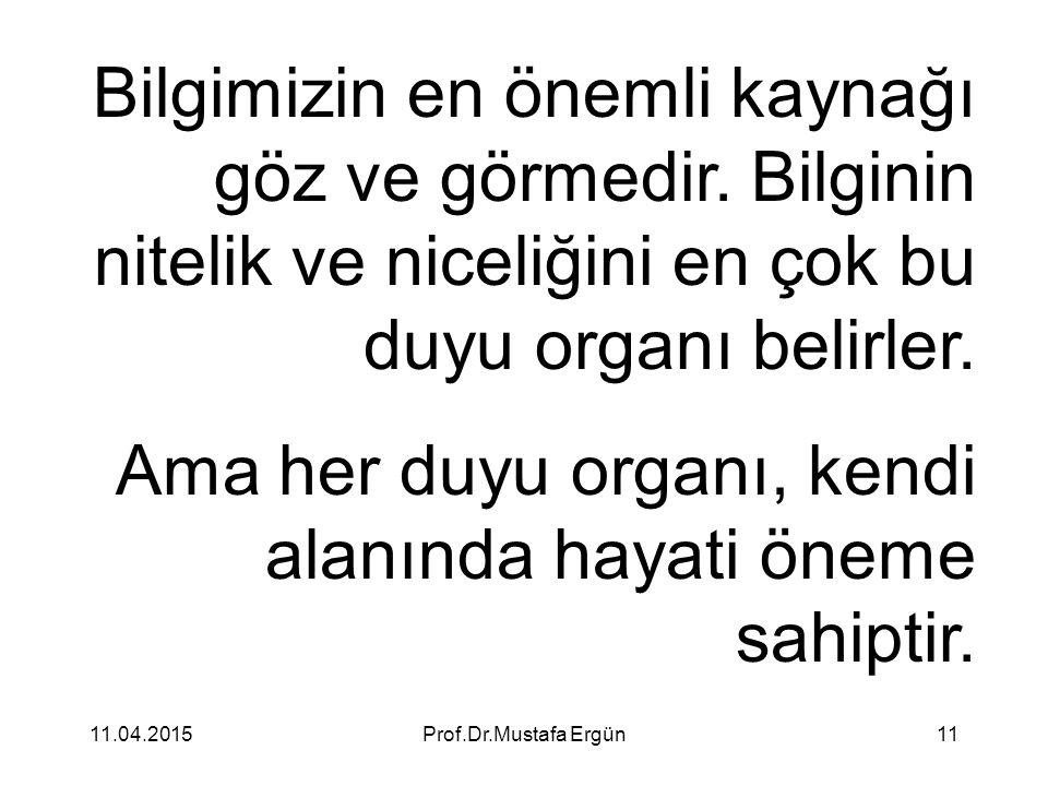 11.04.2015Prof.Dr.Mustafa Ergün11 Bilgimizin en önemli kaynağı göz ve görmedir. Bilginin nitelik ve niceliğini en çok bu duyu organı belirler. Ama her