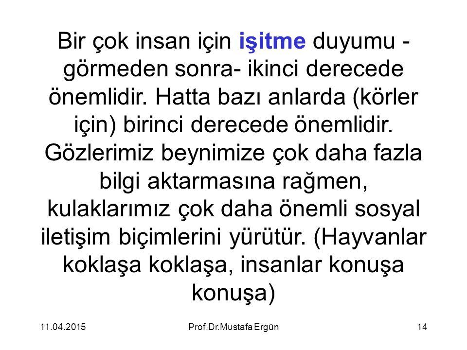 11.04.2015Prof.Dr.Mustafa Ergün14 Bir çok insan için işitme duyumu - görmeden sonra- ikinci derecede önemlidir. Hatta bazı anlarda (körler için) birin