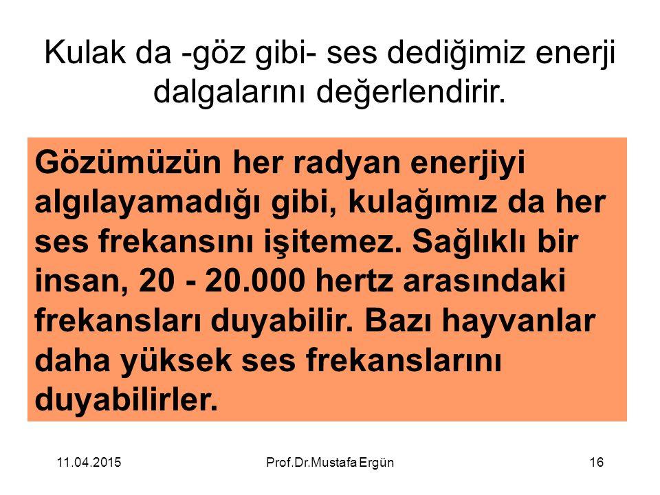 11.04.2015Prof.Dr.Mustafa Ergün16 Kulak da -göz gibi- ses dediğimiz enerji dalgalarını değerlendirir. Gözümüzün her radyan enerjiyi algılayamadığı gib