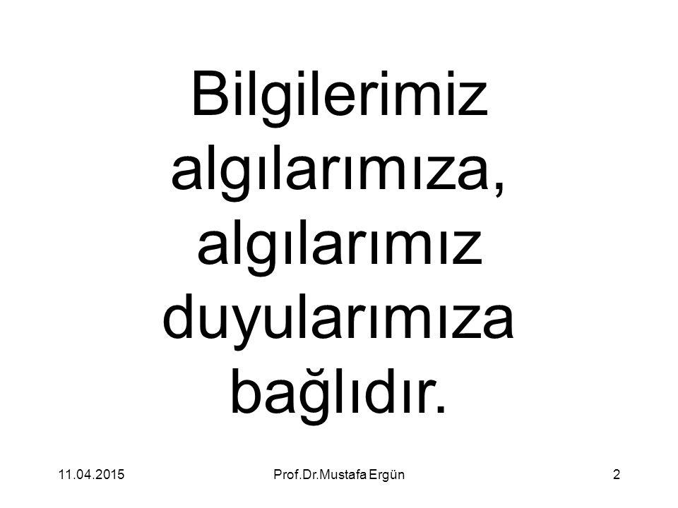 11.04.2015Prof.Dr.Mustafa Ergün2 Bilgilerimiz algılarımıza, algılarımız duyularımıza bağlıdır.