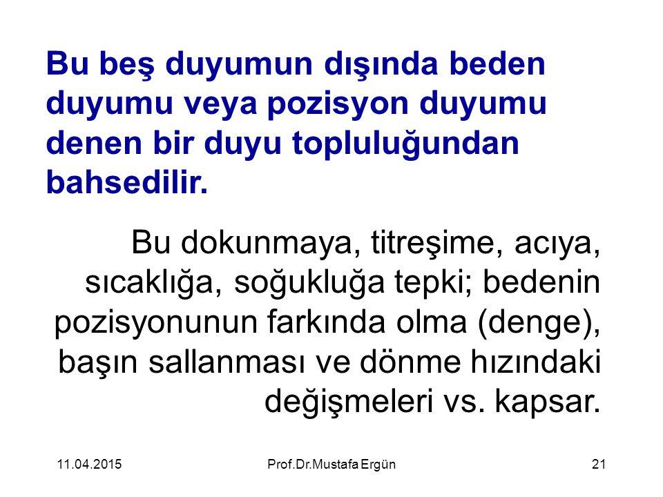 11.04.2015Prof.Dr.Mustafa Ergün21 Bu beş duyumun dışında beden duyumu veya pozisyon duyumu denen bir duyu topluluğundan bahsedilir. Bu dokunmaya, titr