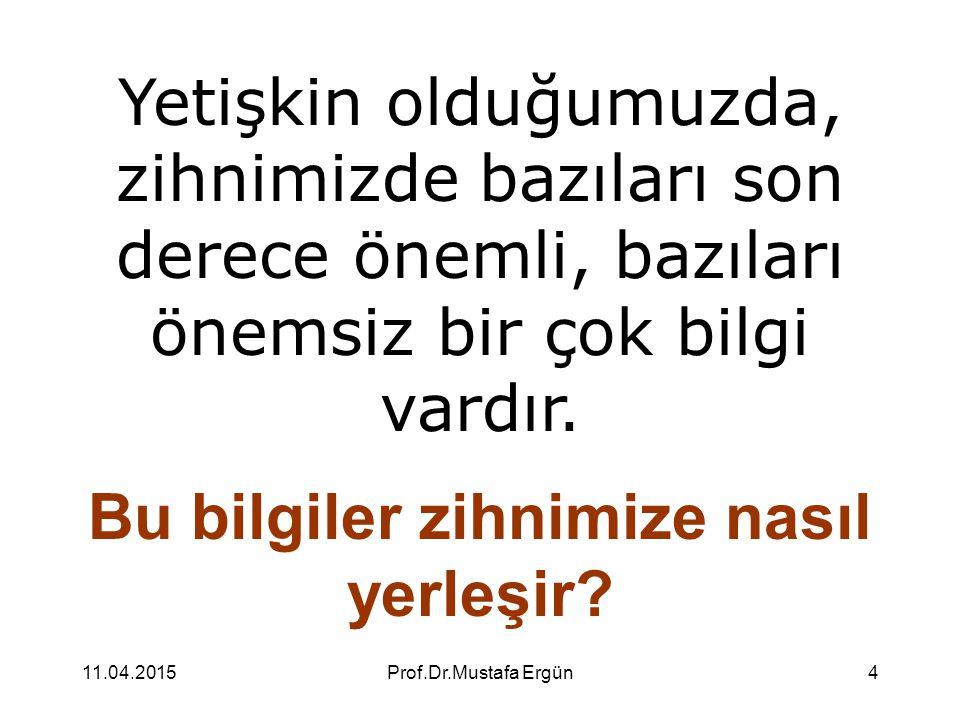 11.04.2015Prof.Dr.Mustafa Ergün4 Yetişkin olduğumuzda, zihnimizde bazıları son derece önemli, bazıları önemsiz bir çok bilgi vardır. Bu bilgiler zihni