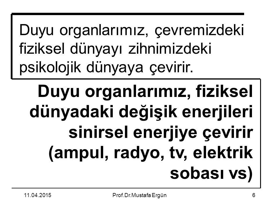 11.04.2015Prof.Dr.Mustafa Ergün6 Duyu organlarımız, çevremizdeki fiziksel dünyayı zihnimizdeki psikolojik dünyaya çevirir. Duyu organlarımız, fiziksel
