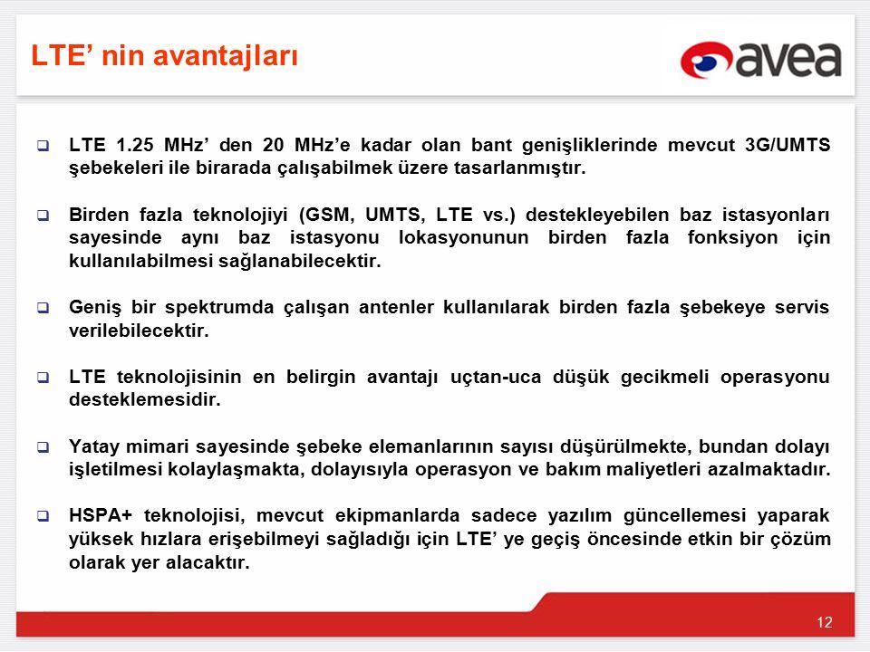 12 LTE' nin avantajları  LTE 1.25 MHz' den 20 MHz'e kadar olan bant genişliklerinde mevcut 3G/UMTS şebekeleri ile birarada çalışabilmek üzere tasarlanmıştır.