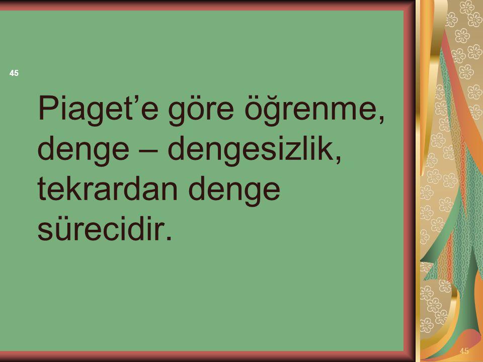 Piaget'e göre öğrenme, denge – dengesizlik, tekrardan denge sürecidir. 45