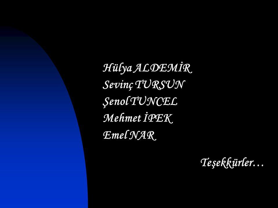 Hülya ALDEMİR Sevinç TURSUN Şenol TUNCEL Mehmet İPEK Emel NAR Teşekkürler…