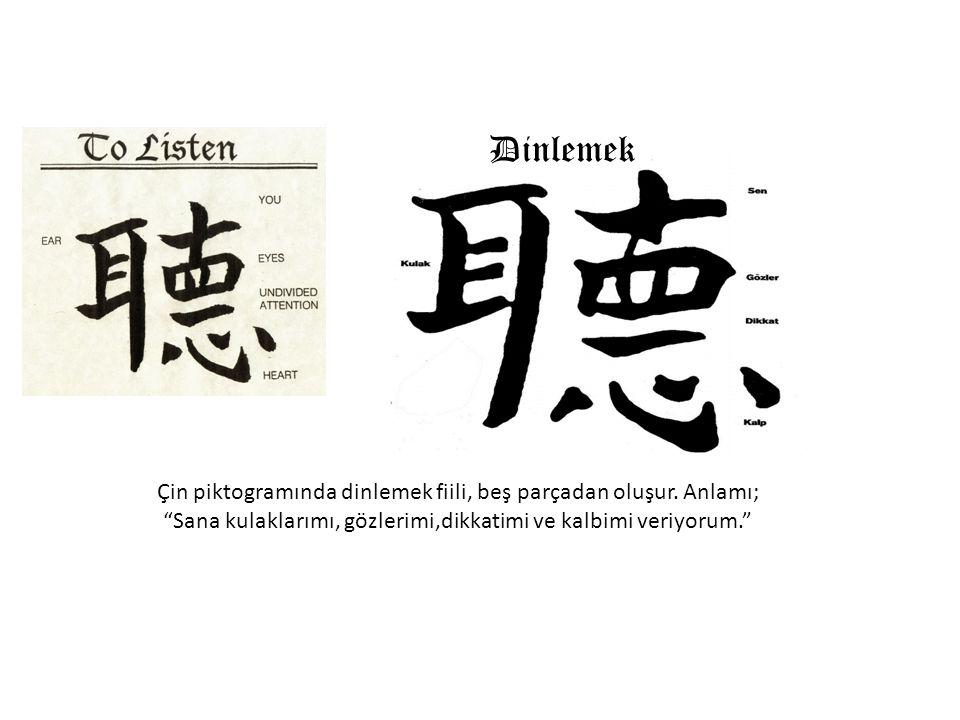 """聽 Geleneksel çince Çin piktogramında dinlemek fiili, beş parçadan oluşur. Anlamı; """"Sana kulaklarımı, gözlerimi,dikkatimi ve kalbimi veriyorum."""" Dinlem"""
