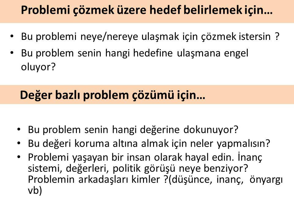 Problemi çözmek üzere hedef belirlemek için… Bu problem senin hangi değerine dokunuyor.
