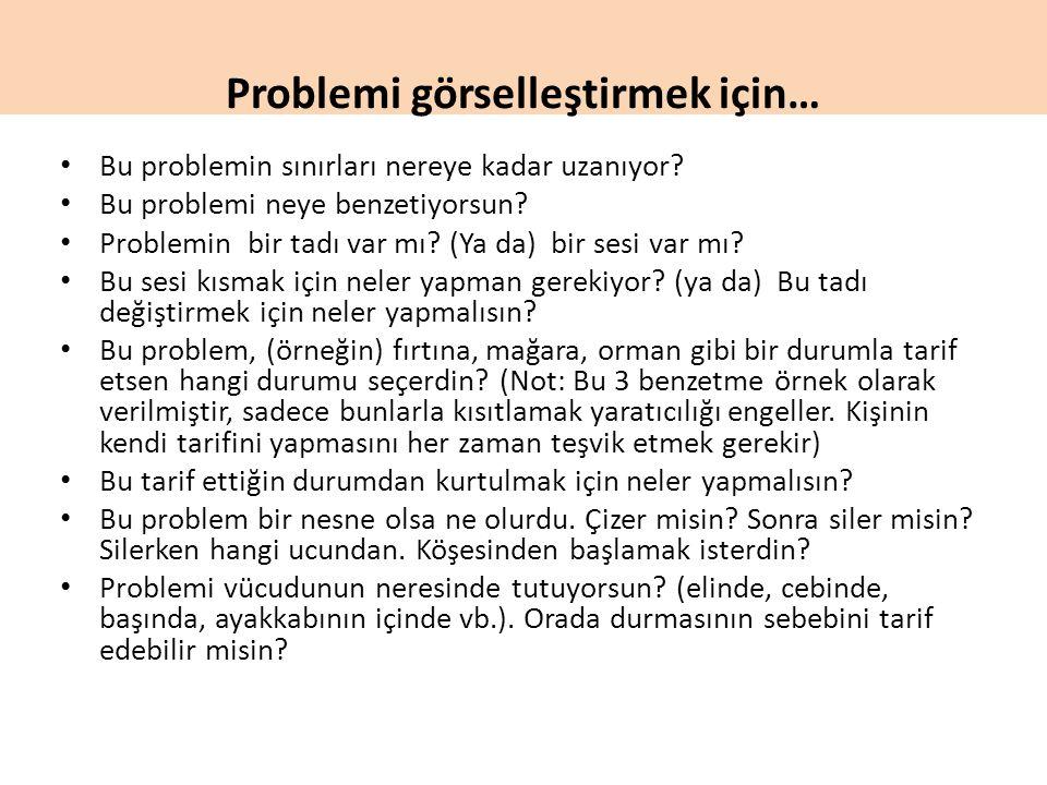 Problemi görselleştirmek için… Bu problemin sınırları nereye kadar uzanıyor? Bu problemi neye benzetiyorsun? Problemin bir tadı var mı? (Ya da) bir se