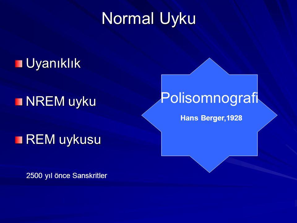 Normal Uyku Normal Uyku Uyanıklık NREM uyku REM uykusu Polisomnografi Hans Berger,1928 2500 yıl önce Sanskritler