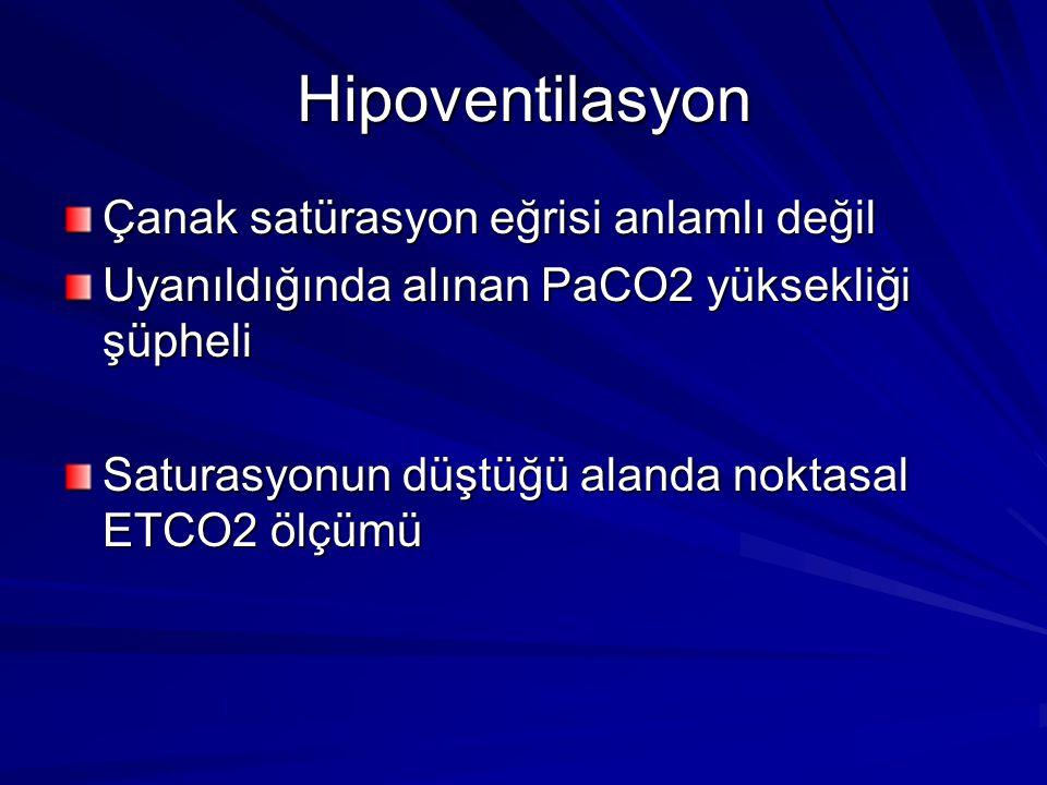 Hipoventilasyon Çanak satürasyon eğrisi anlamlı değil Uyanıldığında alınan PaCO2 yüksekliği şüpheli Saturasyonun düştüğü alanda noktasal ETCO2 ölçümü