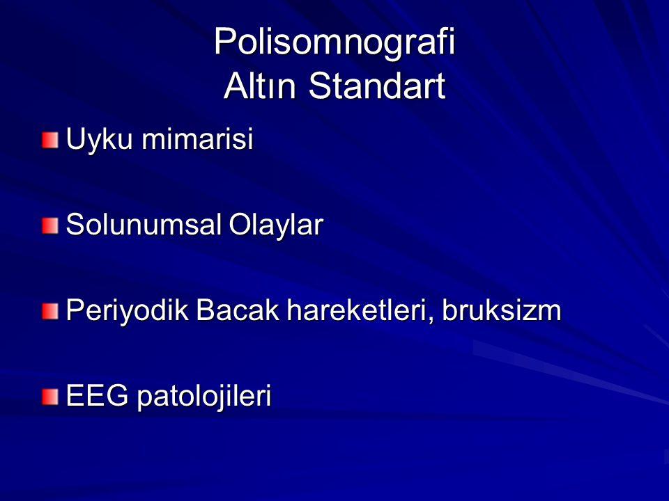 Polisomnografi Altın Standart Uyku mimarisi Solunumsal Olaylar Periyodik Bacak hareketleri, bruksizm EEG patolojileri