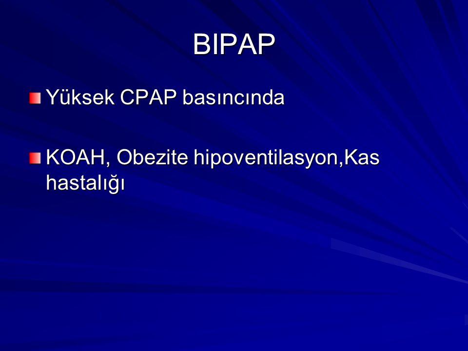 BIPAP Yüksek CPAP basıncında KOAH, Obezite hipoventilasyon,Kas hastalığı