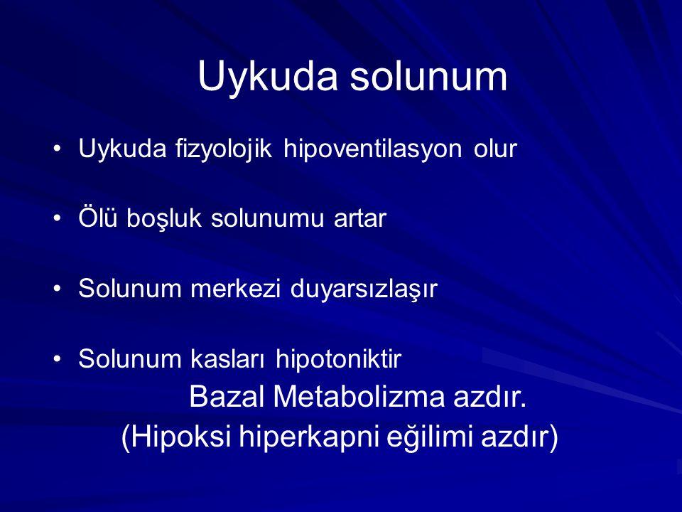 Uykuda solunum Uykuda fizyolojik hipoventilasyon olur Ölü boşluk solunumu artar Solunum merkezi duyarsızlaşır Solunum kasları hipotoniktir Bazal Metab