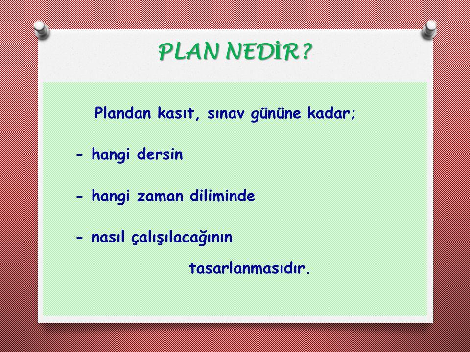Plandan kasıt, sınav gününe kadar; - hangi dersin - hangi zaman diliminde - nasıl çalışılacağının tasarlanmasıdır. PLAN NED İ R?