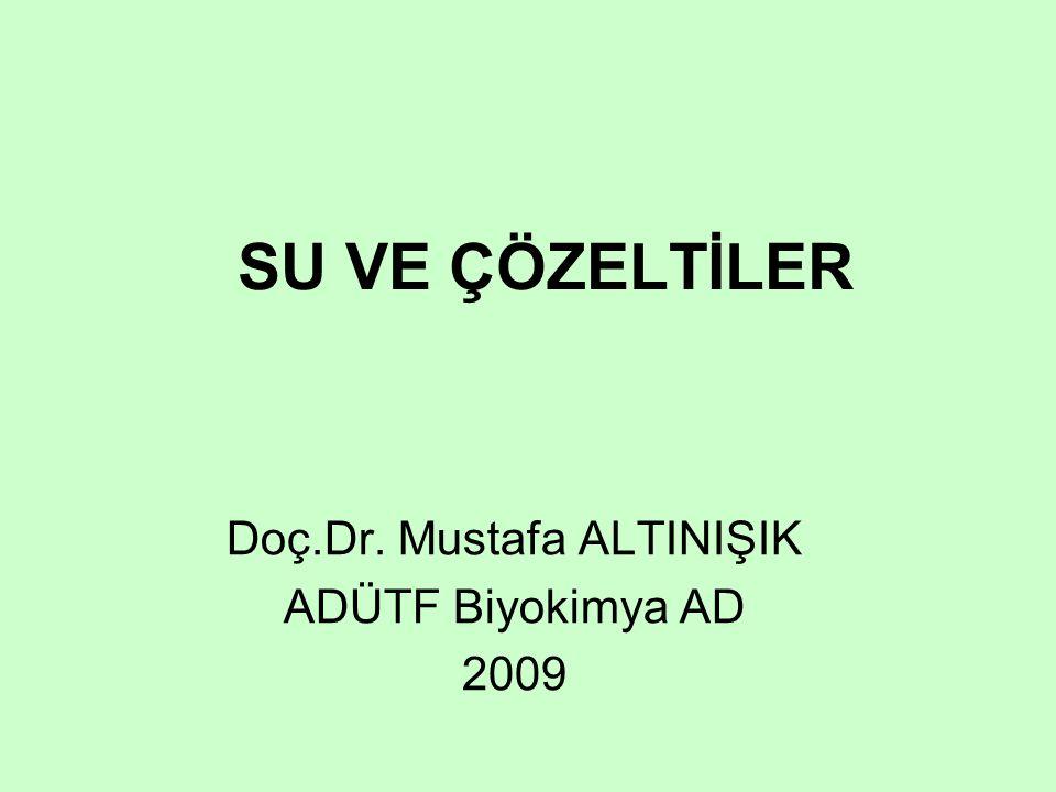 SU VE ÇÖZELTİLER Doç.Dr. Mustafa ALTINIŞIK ADÜTF Biyokimya AD 2009
