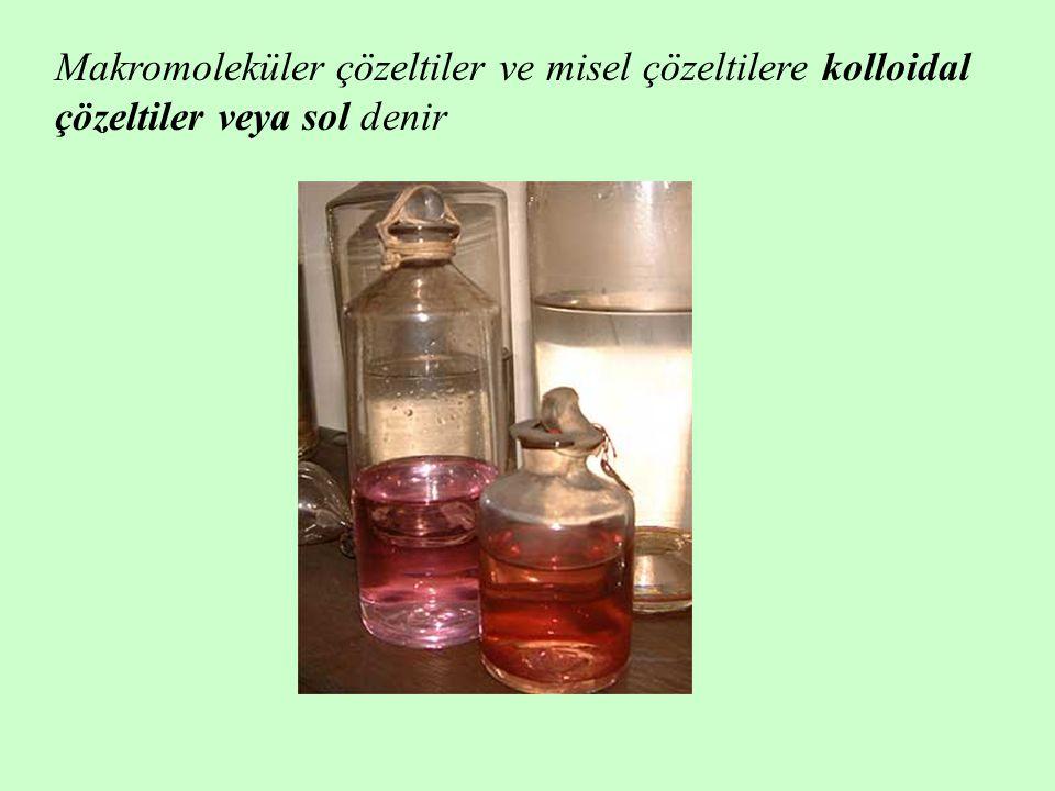 Makromoleküler çözeltiler ve misel çözeltilere kolloidal çözeltiler veya sol denir