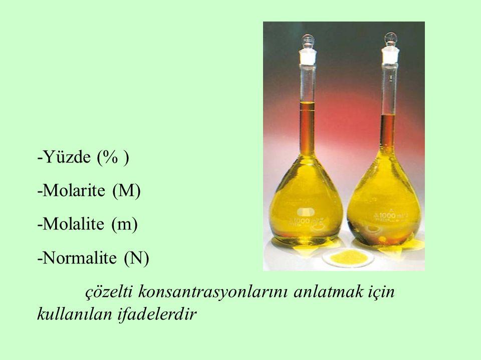-Yüzde (% ) -Molarite (M) -Molalite (m) -Normalite (N) çözelti konsantrasyonlarını anlatmak için kullanılan ifadelerdir