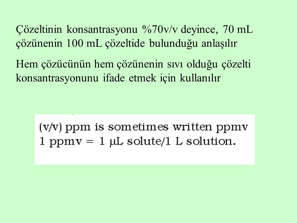 Çözeltinin konsantrasyonu %70v/v deyince, 70 mL çözünenin 100 mL çözeltide bulunduğu anlaşılır Hem çözücünün hem çözünenin sıvı olduğu çözelti konsant