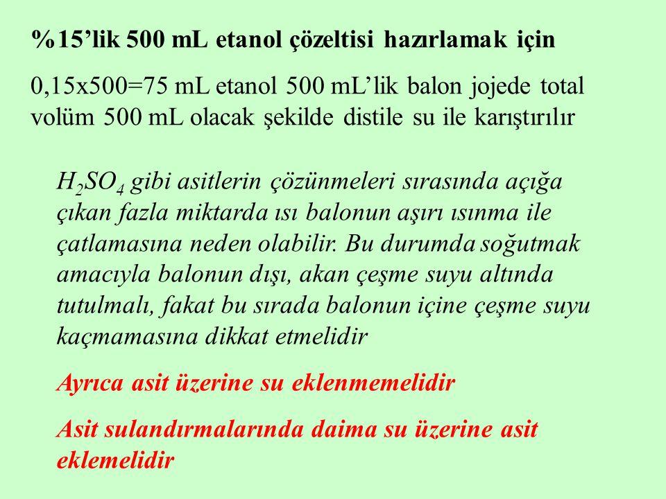 %15'lik 500 mL etanol çözeltisi hazırlamak için 0,15x500=75 mL etanol 500 mL'lik balon jojede total volüm 500 mL olacak şekilde distile su ile karıştı