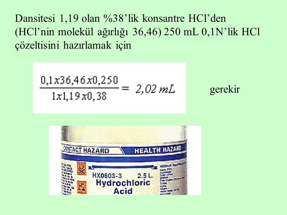 Dansitesi 1,19 olan %38'lik konsantre HCl'den (HCl'nin molekül ağırlığı 36,46) 250 mL 0,1N'lik HCl çözeltisini hazırlamak için gerekir