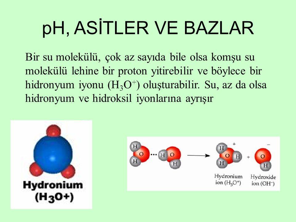 Bir su molekülü, çok az sayıda bile olsa komşu su molekülü lehine bir proton yitirebilir ve böylece bir hidronyum iyonu (H 3 O + ) oluşturabilir. Su,