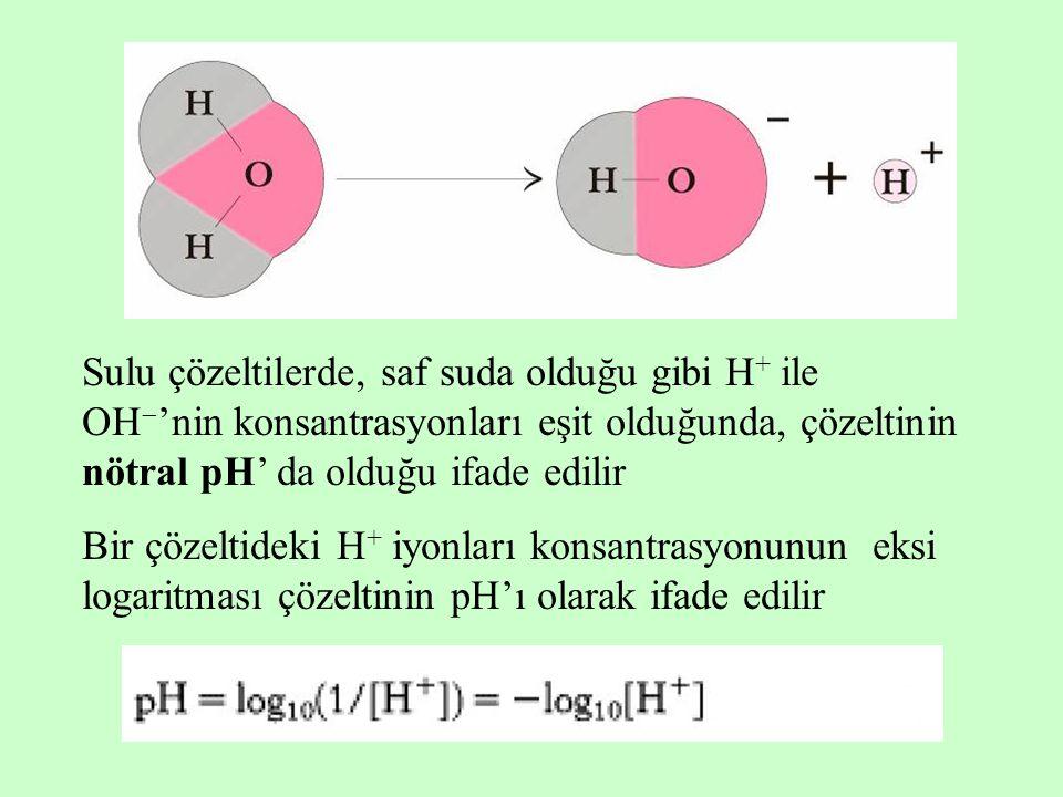 Sulu çözeltilerde, saf suda olduğu gibi H + ile OH  'nin konsantrasyonları eşit olduğunda, çözeltinin nötral pH' da olduğu ifade edilir Bir çözeltide