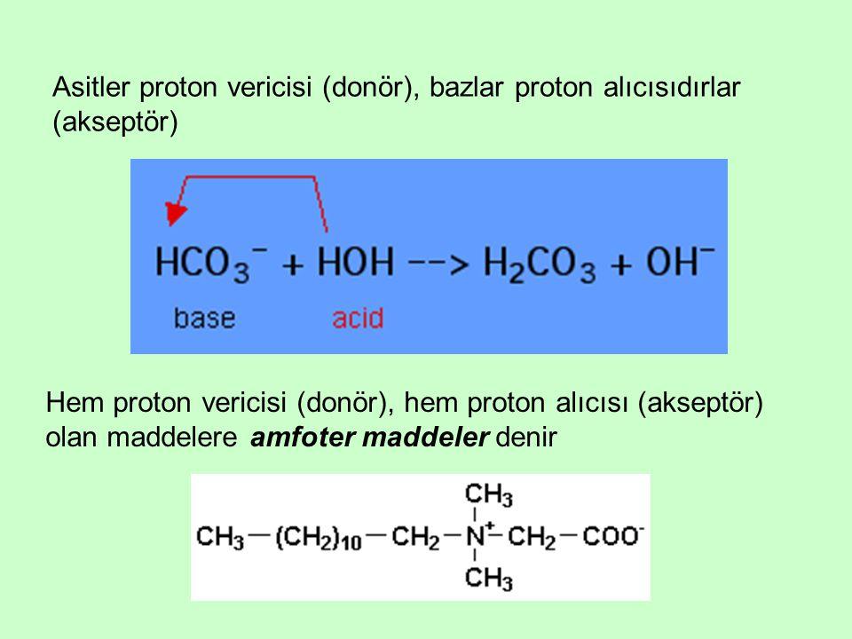Asitler proton vericisi (donör), bazlar proton alıcısıdırlar (akseptör) Hem proton vericisi (donör), hem proton alıcısı (akseptör) olan maddelere amfo