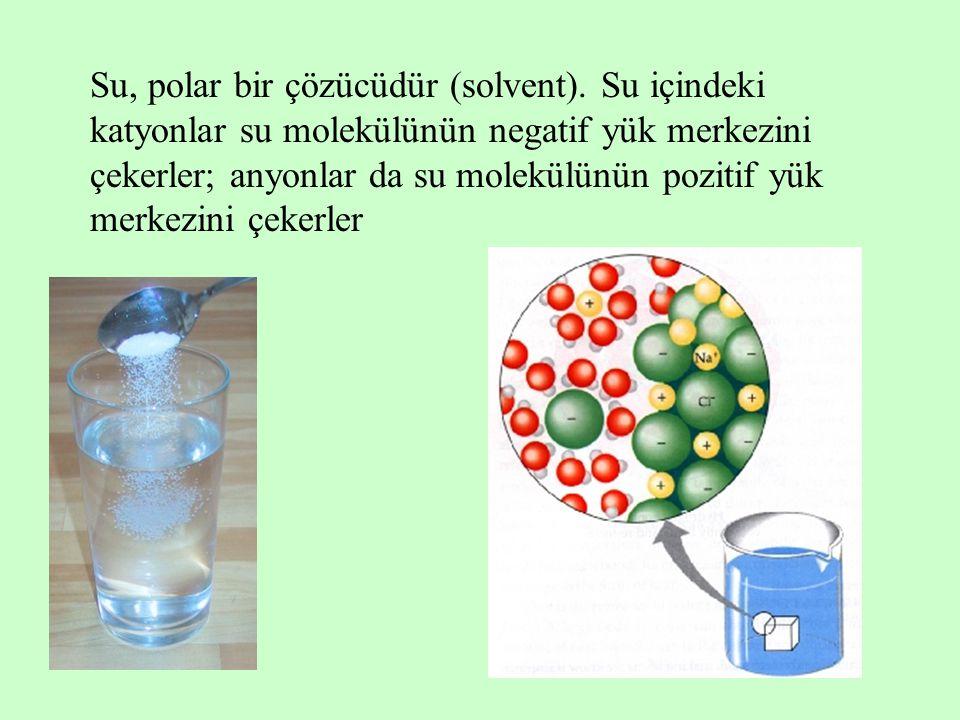 Su, polar bir çözücüdür (solvent). Su içindeki katyonlar su molekülünün negatif yük merkezini çekerler; anyonlar da su molekülünün pozitif yük merkezi