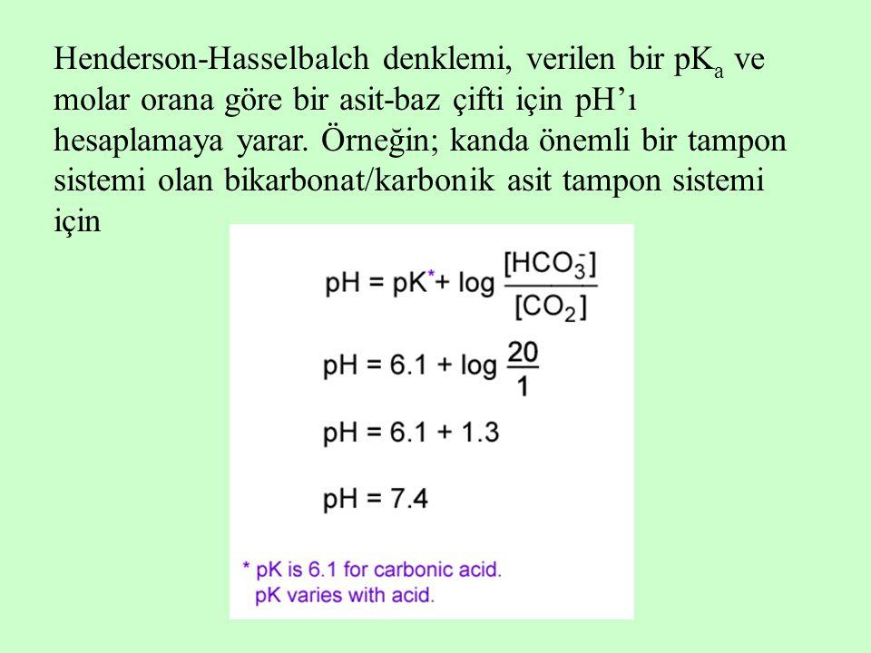 Henderson-Hasselbalch denklemi, verilen bir pK a ve molar orana göre bir asit-baz çifti için pH'ı hesaplamaya yarar. Örneğin; kanda önemli bir tampon