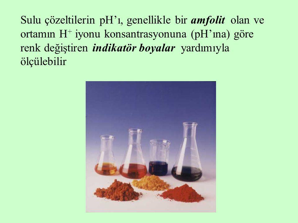 Sulu çözeltilerin pH'ı, genellikle bir amfolit olan ve ortamın H + iyonu konsantrasyonuna (pH'ına) göre renk değiştiren indikatör boyalar yardımıyla ö