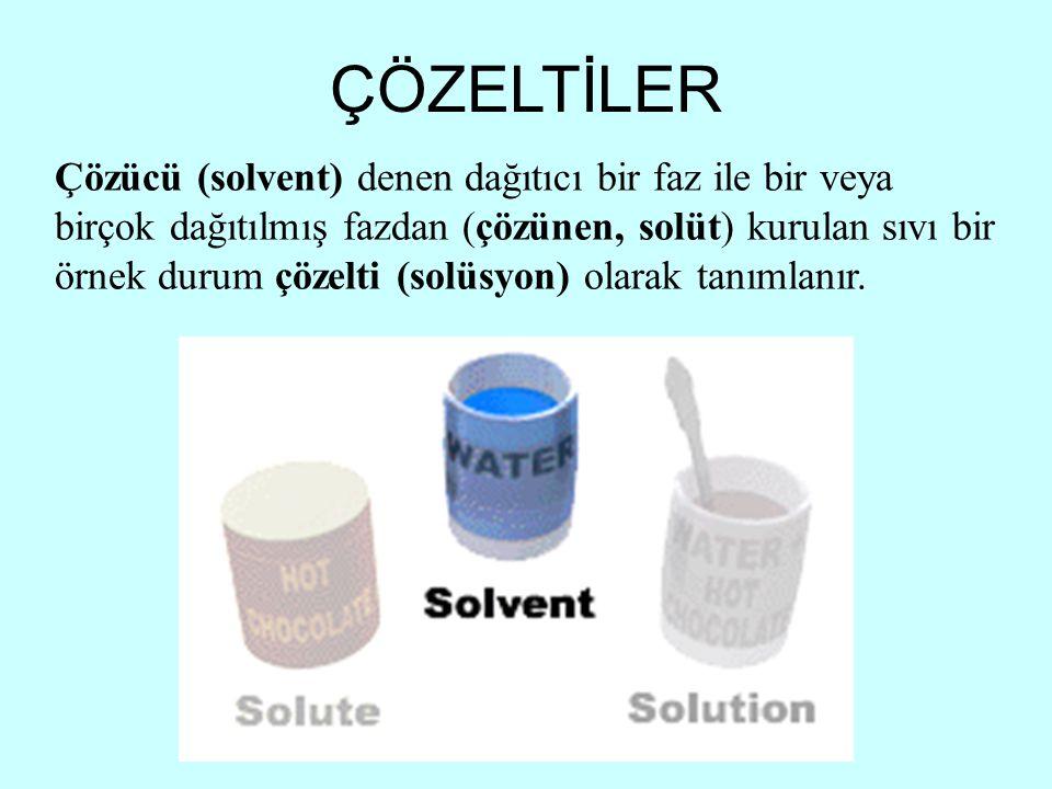 Çözücü (solvent) denen dağıtıcı bir faz ile bir veya birçok dağıtılmış fazdan (çözünen, solüt) kurulan sıvı bir örnek durum çözelti (solüsyon) olarak