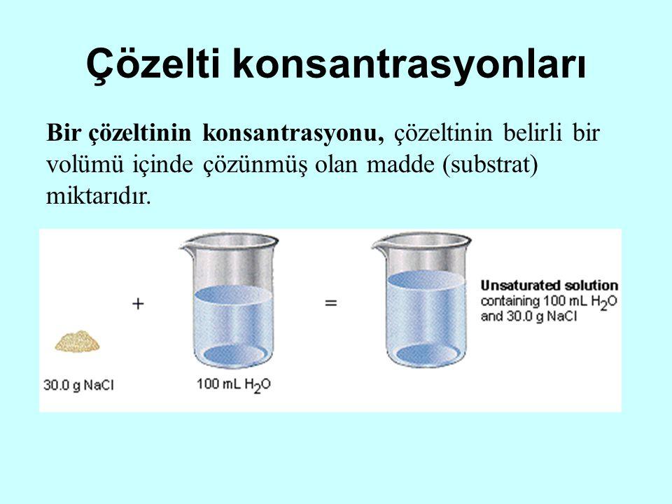 Çözelti konsantrasyonları Bir çözeltinin konsantrasyonu, çözeltinin belirli bir volümü içinde çözünmüş olan madde (substrat) miktarıdır.